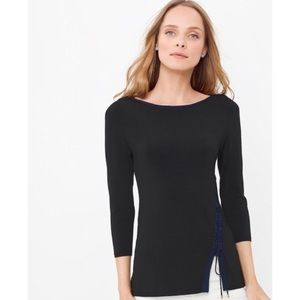 White House Black Market Lace Up Boatneck Top
